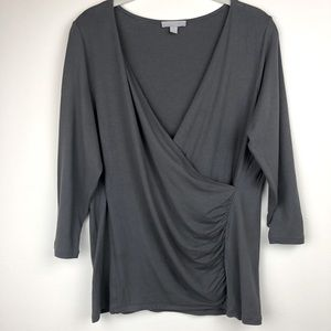 Pure Collection Jersey Wrap Quarter Sleeve Top